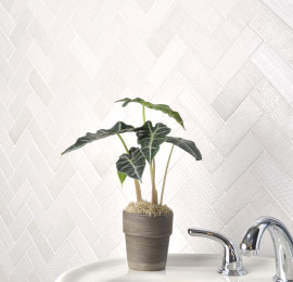 White Chevron Bathroom Tile